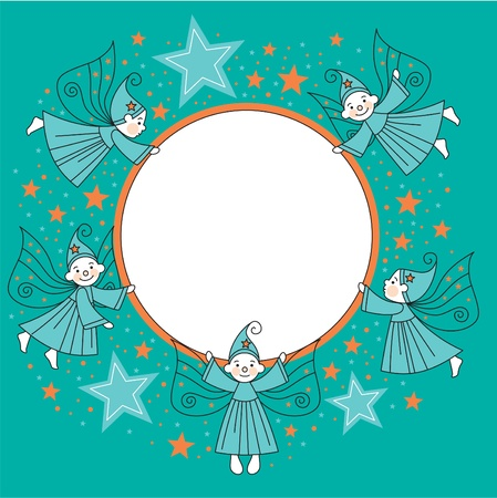 greeting card with elves  Vector