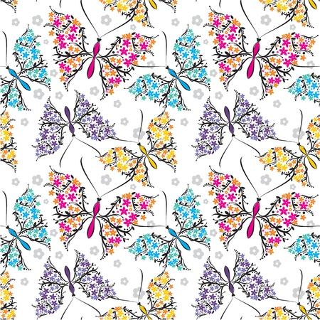 floral silhouette: seamless pattern with butterflies