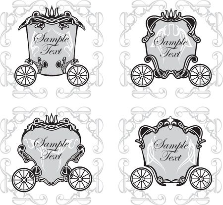 set invitation design with fairytale carriage Illustration