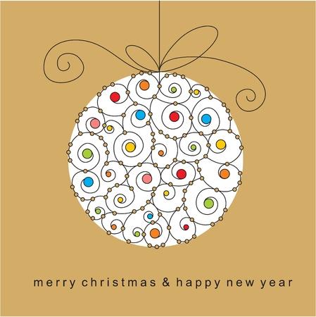 christmas template: vettore palla di Natale con perline e nastri