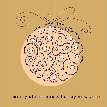 floral decoration: vector christmas ball with beads and ribbon