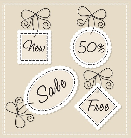 needlework: set vector needlework labels  Illustration