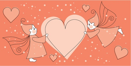 greeting love card with elves Vector