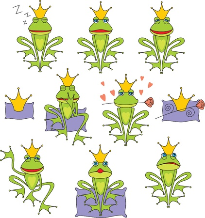 set vector prince frog emotion expressions Vector