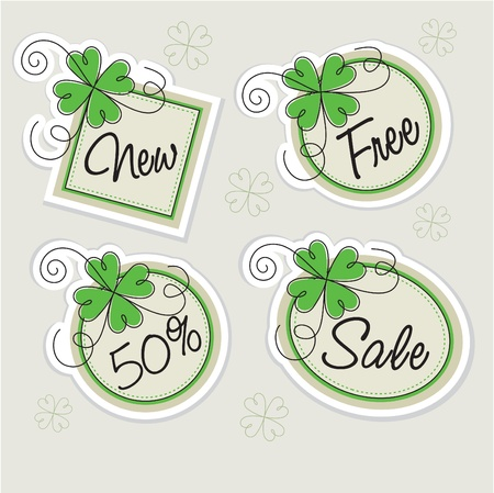 vector label set with clovers Stock Vector - 10652404