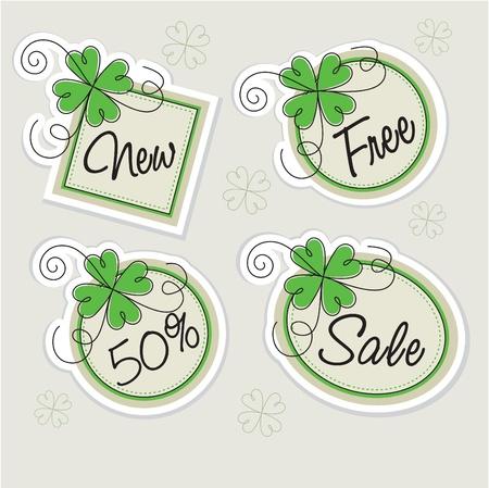 trinket: vector label set with clovers