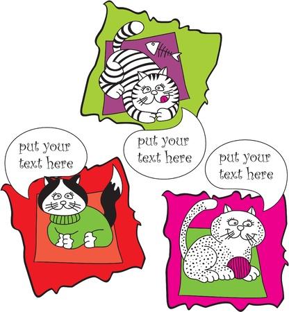 set vector talking cats Vector