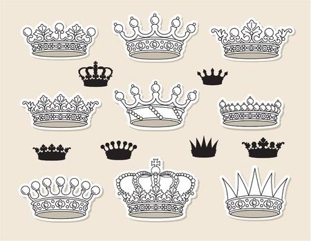 royal crown: conjunto de coronas vector Vectores