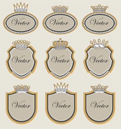set vector frame with crowns