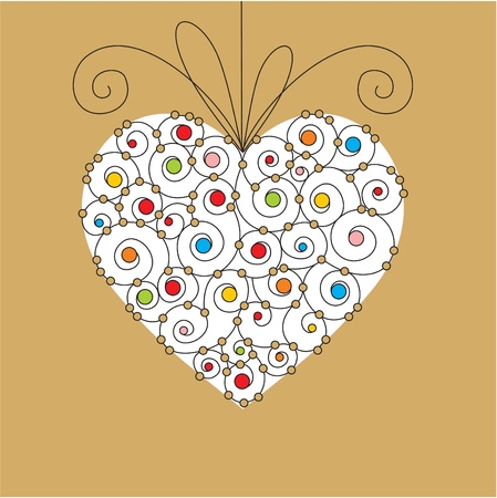 bead: vector greeting card with heart Illustration