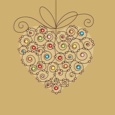 tarjeta de felicitación de vectores con corazón Ilustración de vector