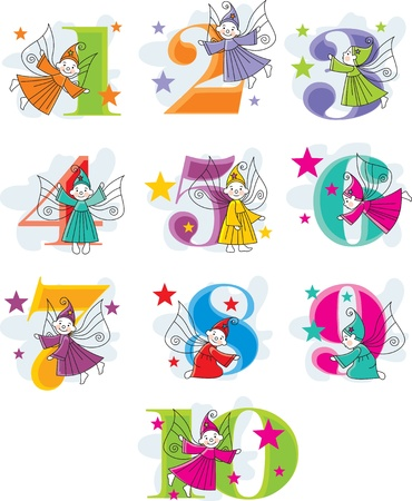 funny number cartoon collection with elves Vector