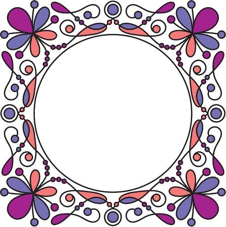 grunge photo frame: cornice decorativa con elementi floreali Vettoriali