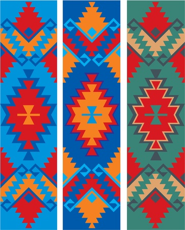 mexican art: tre varianti di colore del vettore ornamento etnico