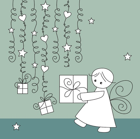 christmas angels: vector greeting card with elf