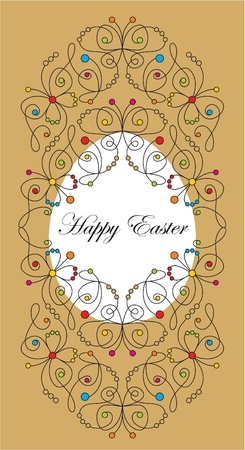 egg plant: vector greeting easter card with butterflies Illustration