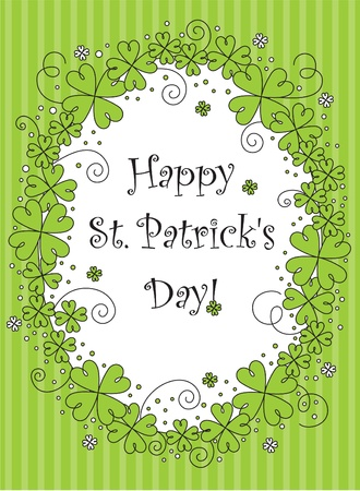 saints: vector greeting card with clovers Illustration
