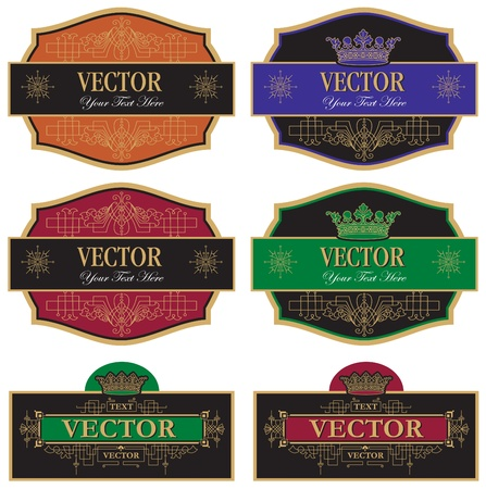 set vector wine labels