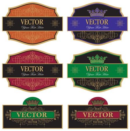 set vector wine labels