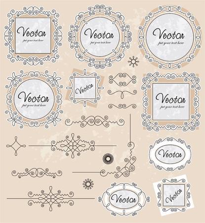 set vector vintage ornaments set Vector
