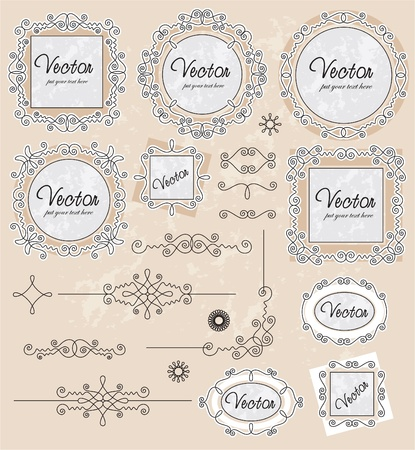 set vector vintage ornaments set