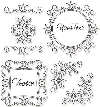 lily flowers collection: vector set vintage ornaments and frames Illustration