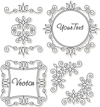 vector set vintage ornaments and frames Illustration