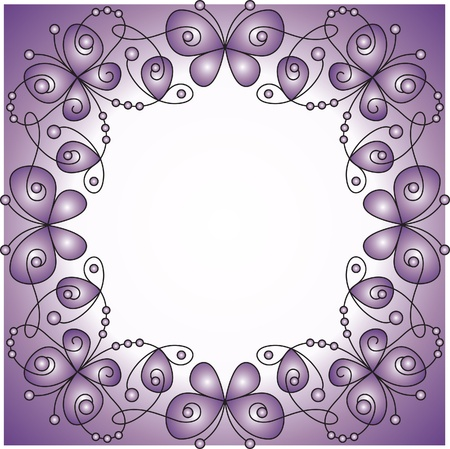 twirls: decorative vector frame with butterfly