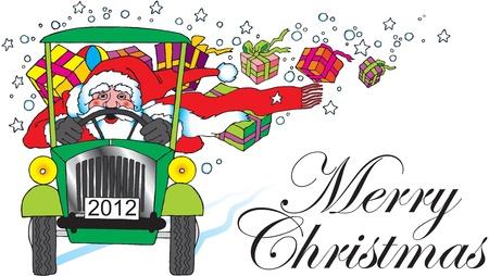 vieil homme assis: Santa Claus avec la voiture et des cadeaux Illustration