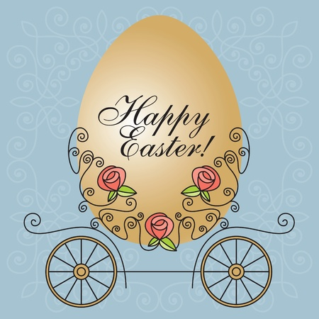 greeting vector card with carriage and egg Vector