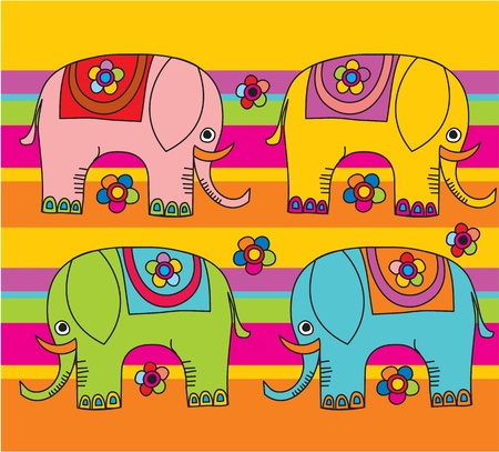 elephant trunk: cartoon funny elephants Illustration