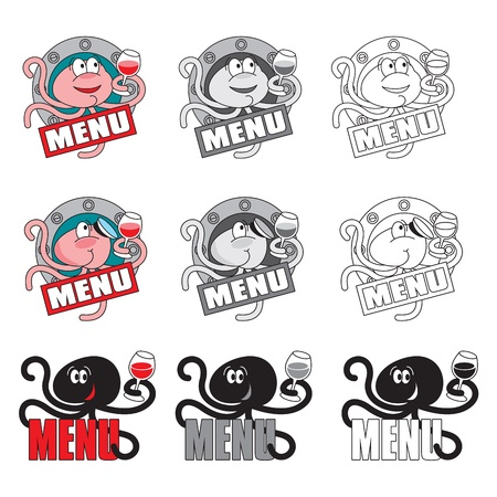 seafood menu cover elements with octopus Stock Vector - 13900053