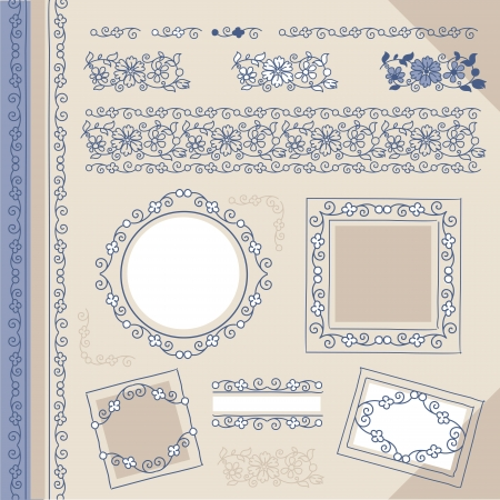 set floral ornaments, frames and borders Vector