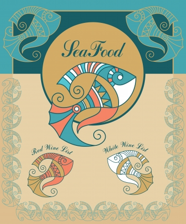 fresh seafood: set vector vitage seafood menu elements Illustration