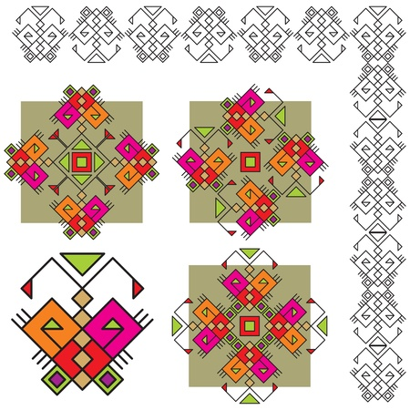 ukrainian: set ethnic ornaments with butterfly Illustration
