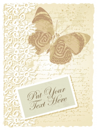 romantic card with butterfly Vector