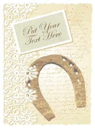 romantic card with horseshoe Vector