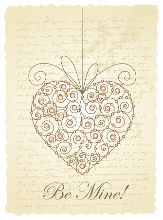 romantic card with heart Stock Vector - 15492155