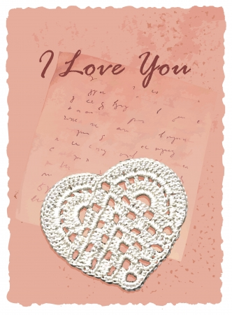 vintage romantic card with heart Vector
