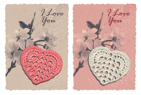 vintage greeting romantic card with heart Vector