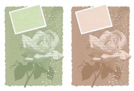 cartoline vittoriane: sfondo vintage con la rosa in due varianti di colore Vettoriali