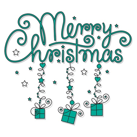 merry christmas hand lettering Stock Vector - 16186267