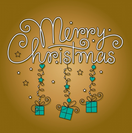 merry christmas hand lettering Stock Vector - 16186269