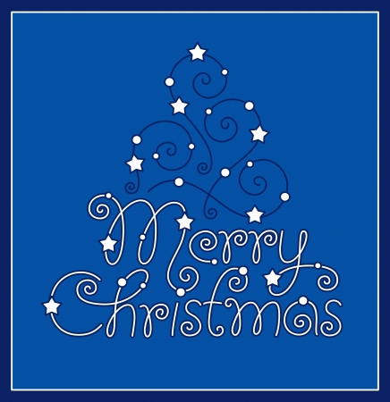 merry christmas hand lettering and tree Stock Vector - 16186271