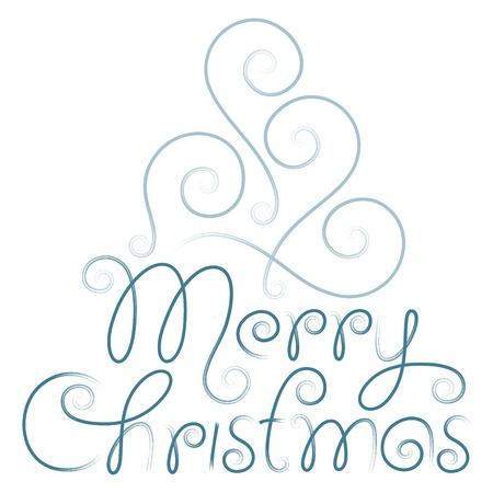 typography signature: Feliz Navidad letras mano y el �rbol Vectores