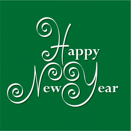 happy new year hand lettering Stock Vector - 16568701