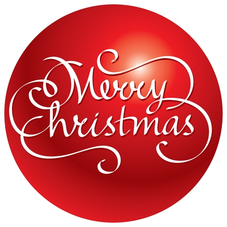 merry christmas hand lettering in ball Vector