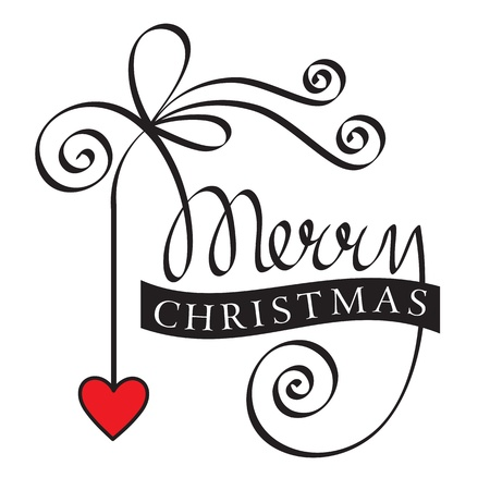 christmas scroll: merry christmas hand lettering with heart