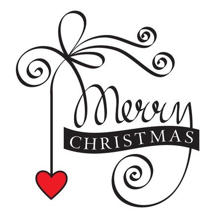 retro font: merry christmas lettering a mano con il cuore