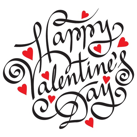 happy valentine day hand lettering Stock Vector - 17337537